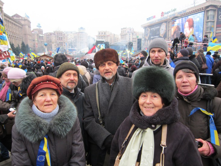 Participating in General Assembly in Kyiv's Independence Square