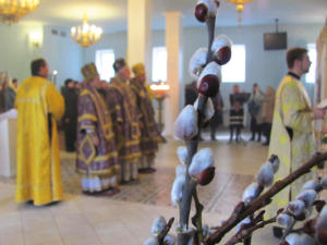 Palm Sunday in the temple of Transfiguration of the Lord