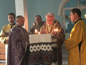 On Holy Thursday in the temple of Transfiguration of the Lord