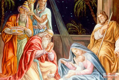 When wise men came into the cave they approached to the Baby and kneeled down in front of the Future Savior of the humanity. They brought some gifts for Him: 28 golden bricks, frankincense and myrrh.